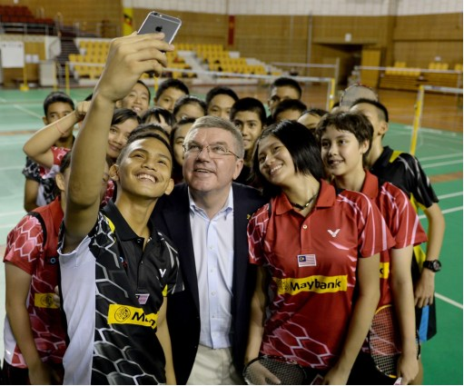 Group selfie with IOC president